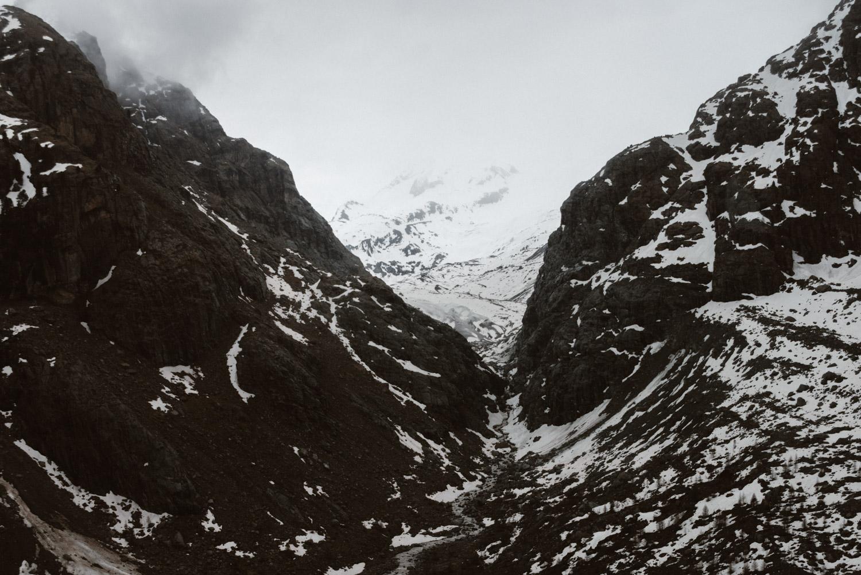 Utsikt från linbanan upp till Glacier Palace