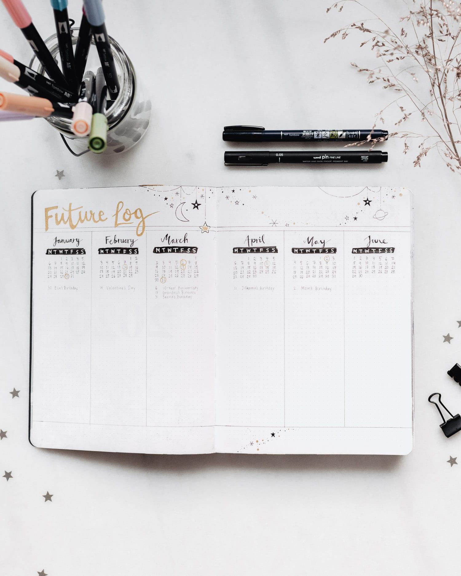 Bullet Journal - Exempel på Framtidsöversikten (Future Log)