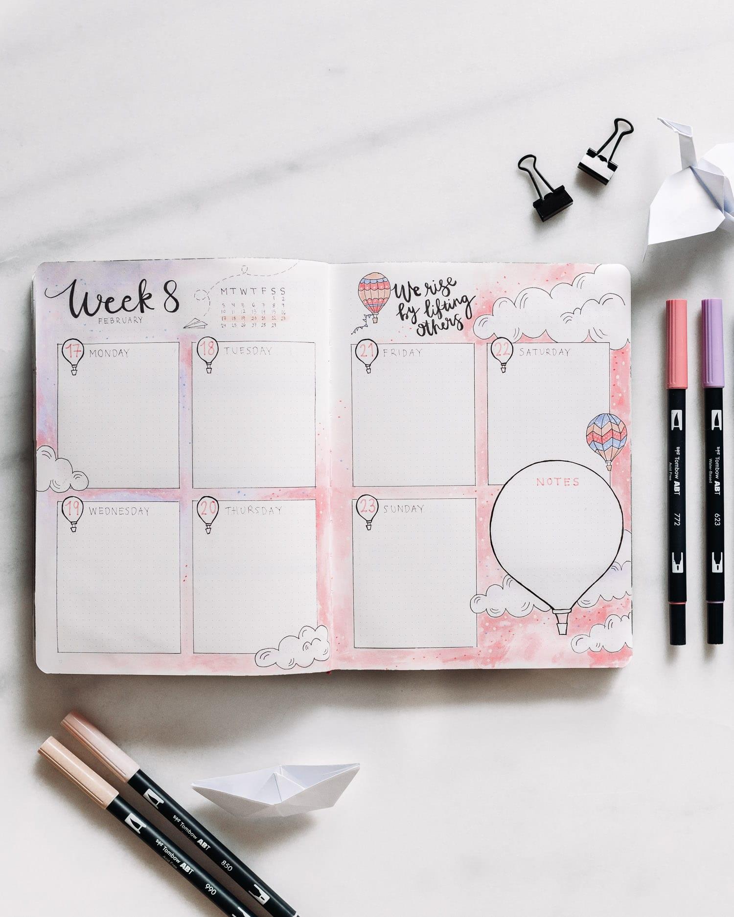 Bullet journal veckoplanering: Rosa & lila luftballongstema