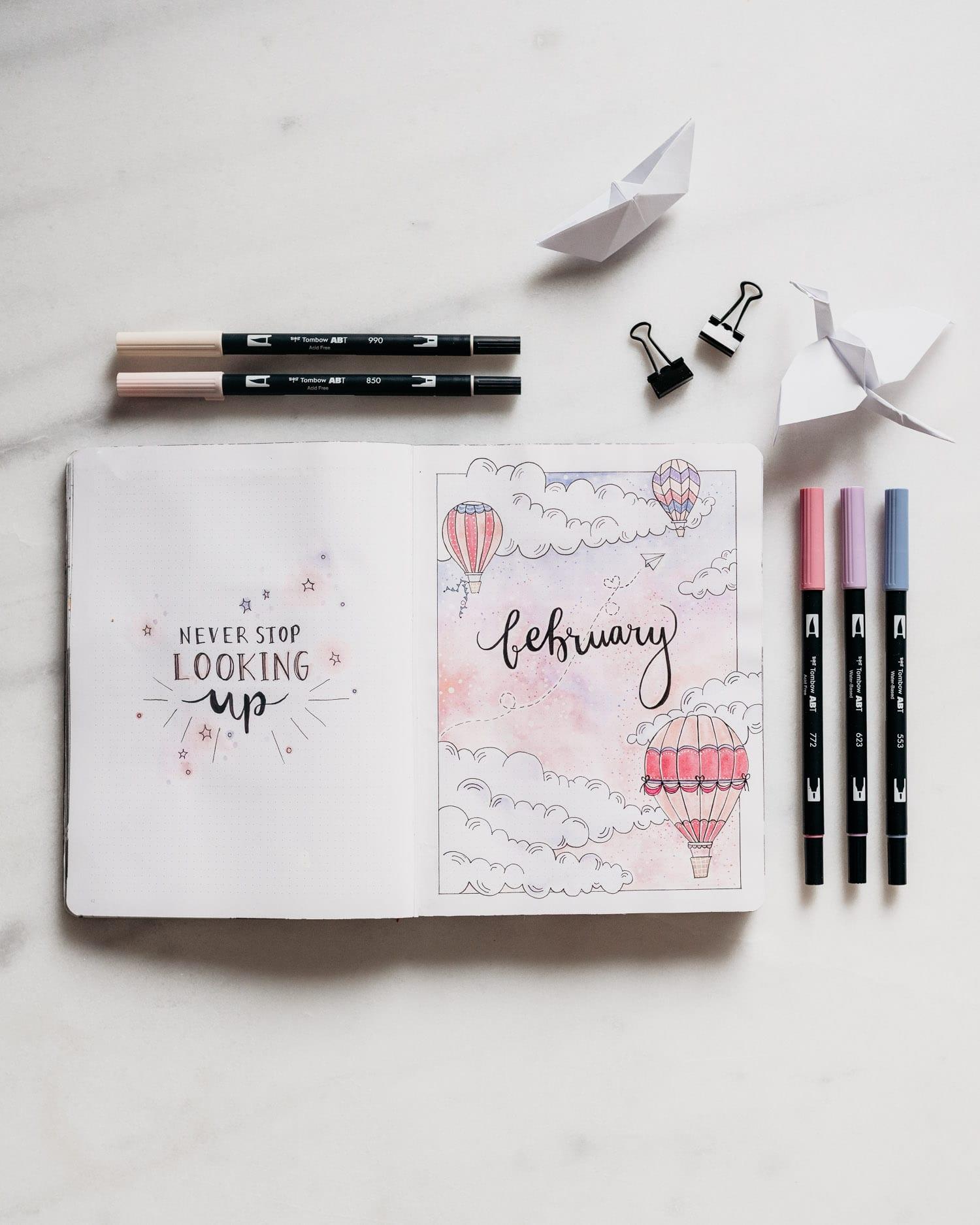 Bullet Journal Februari: Tema med luftballonger och pappersflygplan