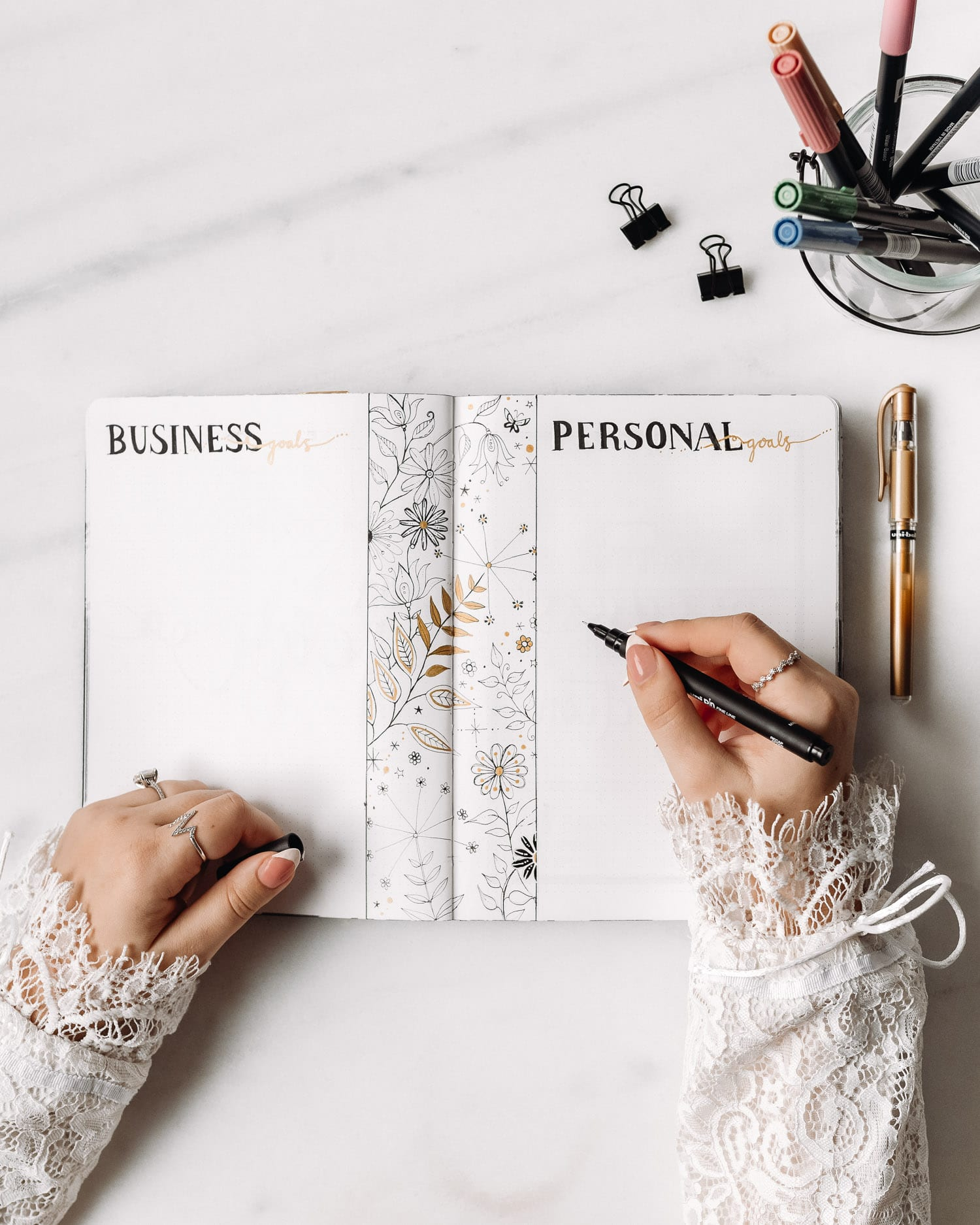 Bullet Journal Företagsmål och Personliga mål