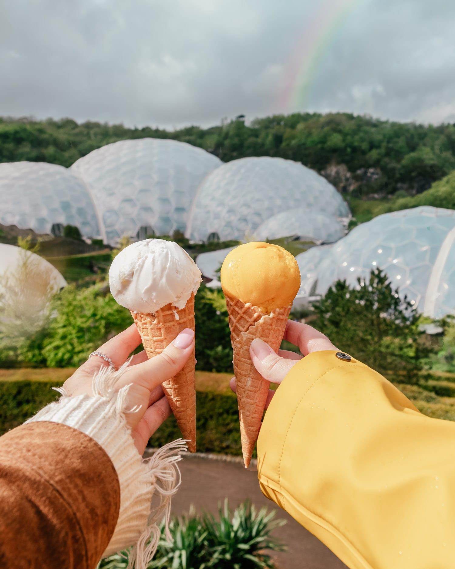 Instagramvänliga glassar i Eden Project i Cornwall, Storbritannien