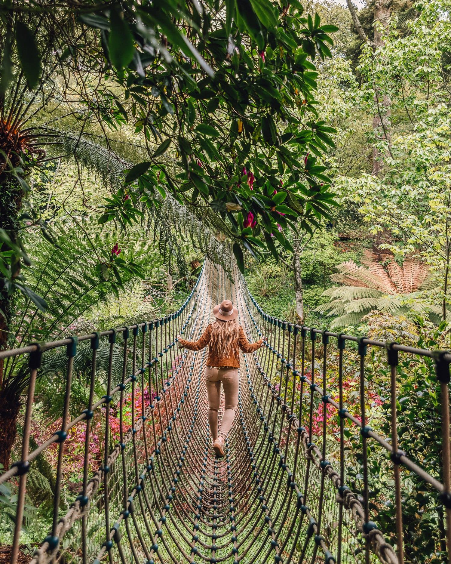 Burma Rope Bridge i The Lost Gardens of Heligan   Vacker Instagramplats i Cornwall, England