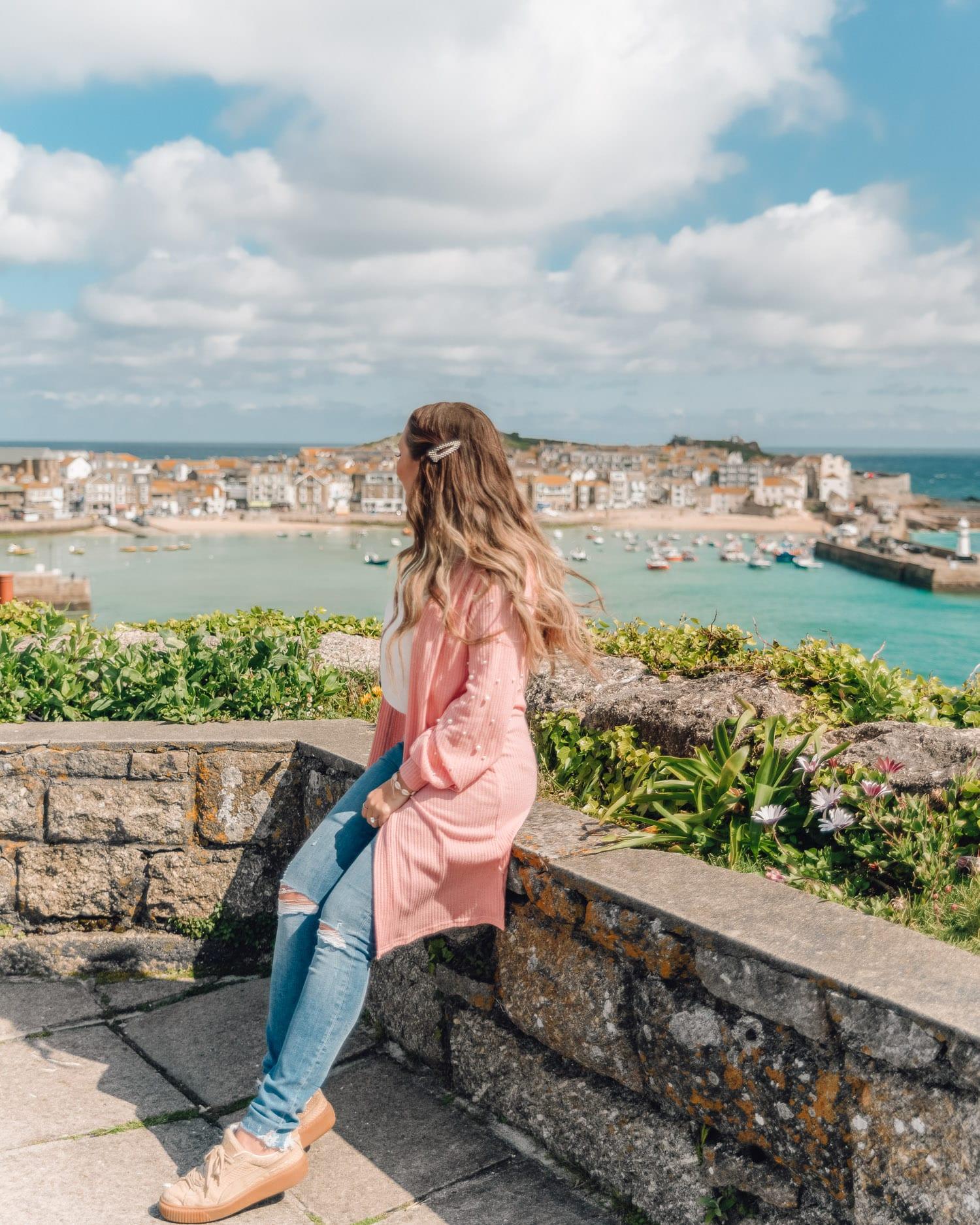 Vacker utsiktsplats för bilder i St. Ives i Cornwall, Storbritannien