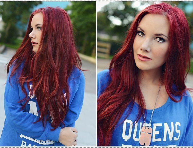 färga mörkt hår rött