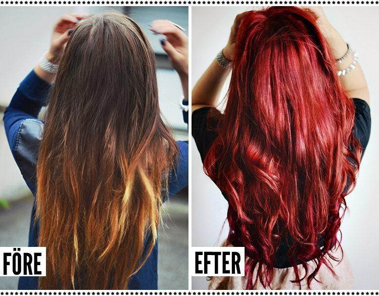 Från brunt till rött hår