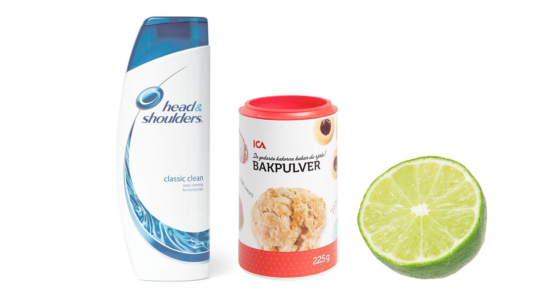 Hemmablekning med lime, bakpulver och mjällshampoo - Stripping hair with baking soda and lime at home
