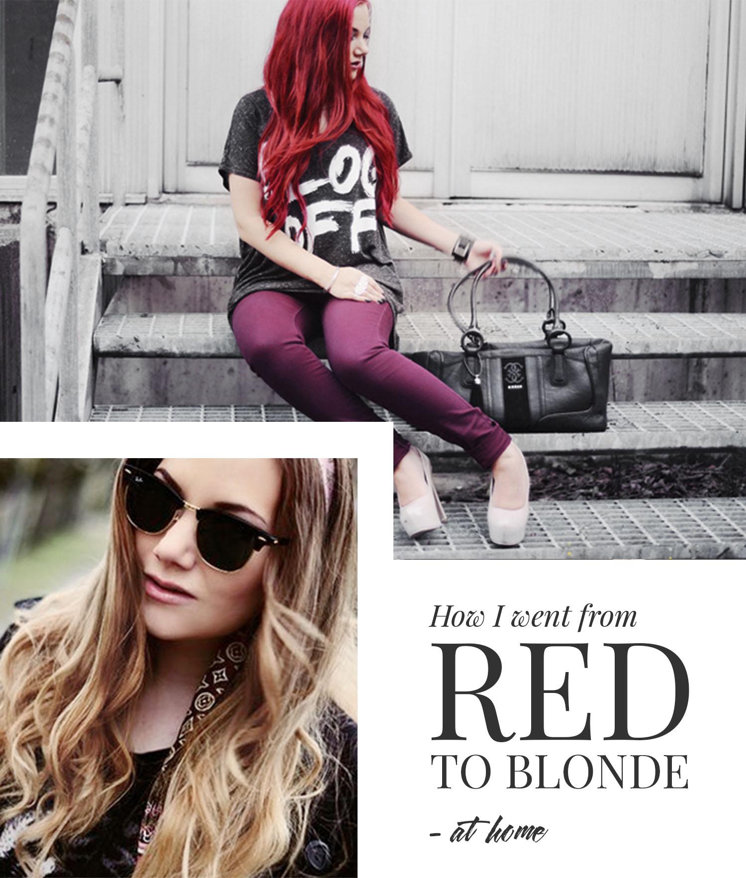 How I went from red to blonde hair at home - Från rött till blont hår hemma