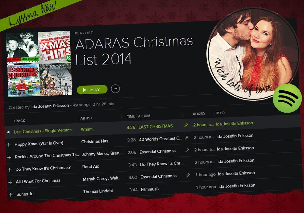 Julmusik - Adaras Christmas List på Spotify