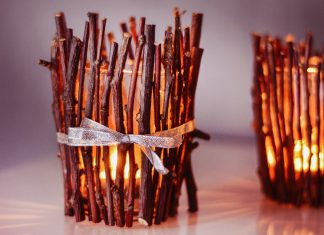 DIY Wood Sticks Candle Holders