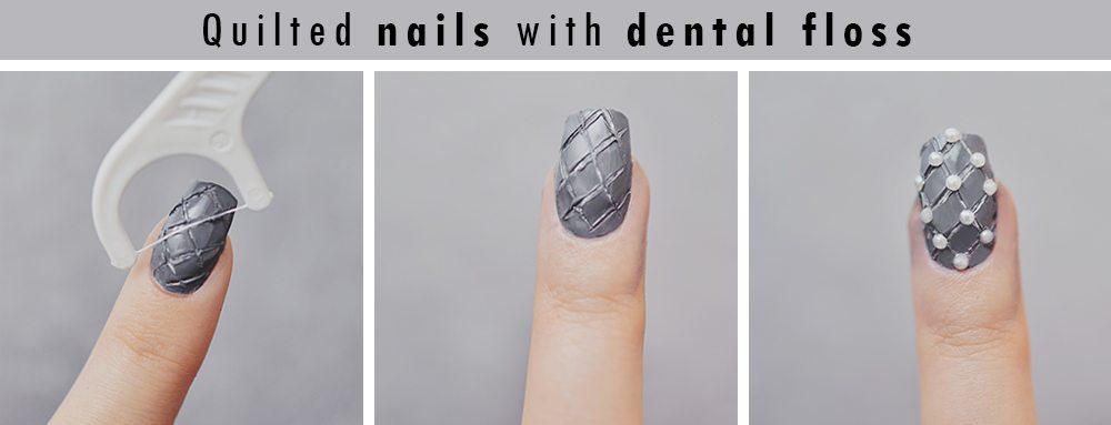 Quiltade naglar med tandtråd