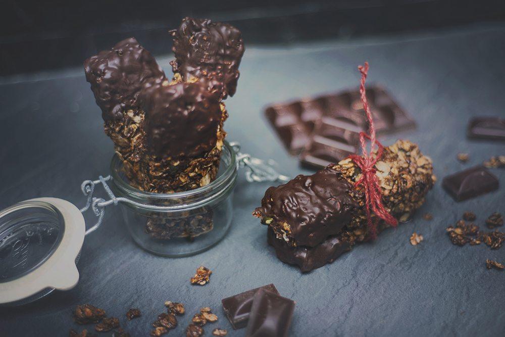 Granola bars med choklad