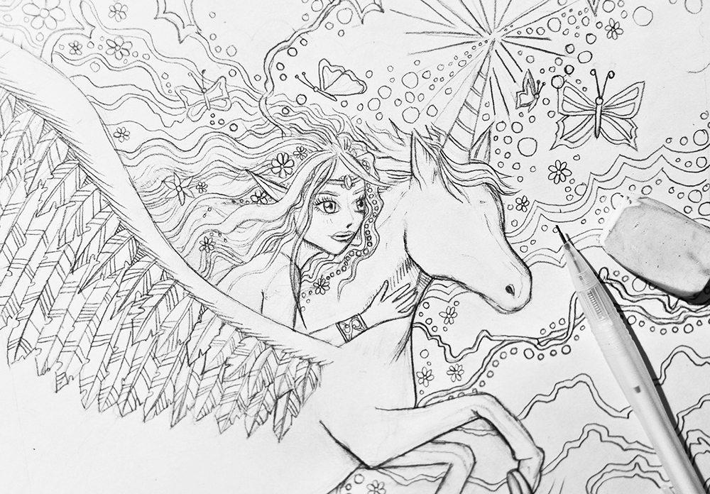 Fantasy drawing - pegacorn & elf