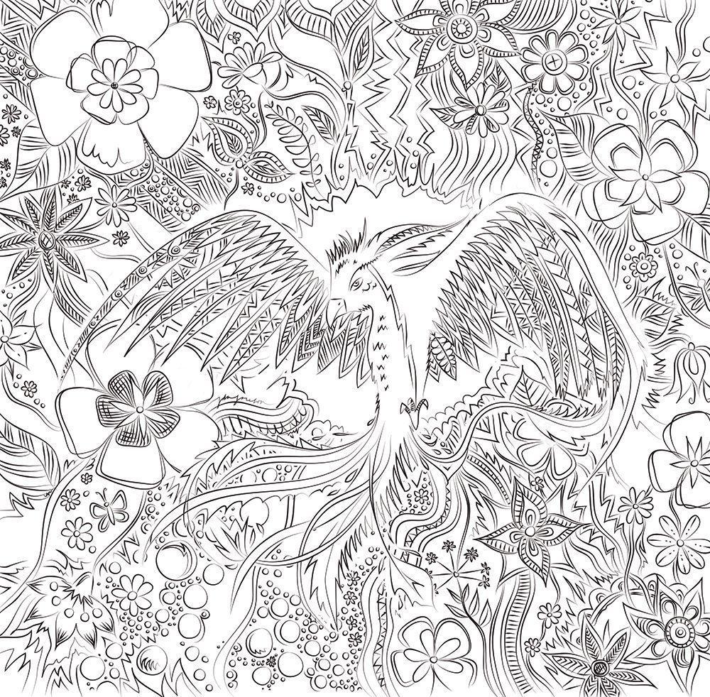 Rise like a Phoenix - Min första målarboksillustration