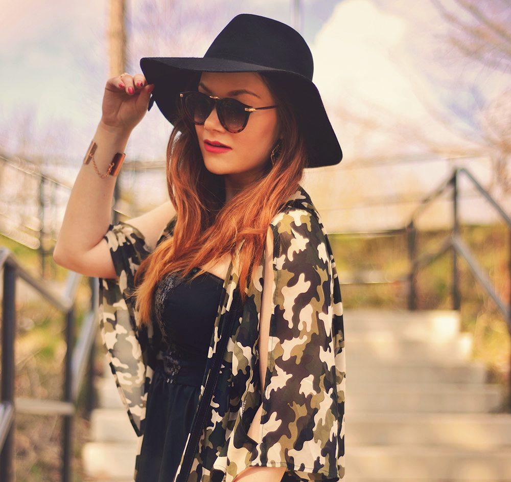 Outfit: Camo print kimono & hat