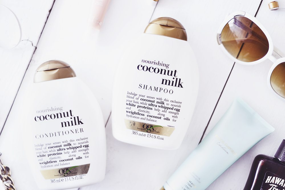 OGX Coconut Milk Shampoo & Conditioner, Hawaiian Tropic Protective Dry Spray Oil & Panos Emporio Cocosun