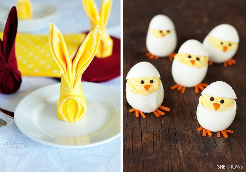 Påskpyssel - kaninservetter och äggstra söta ägg