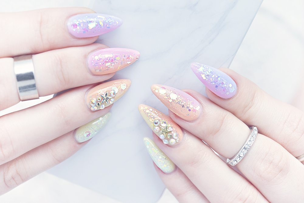 Pastel Mermaid Stiletto Gel Nails