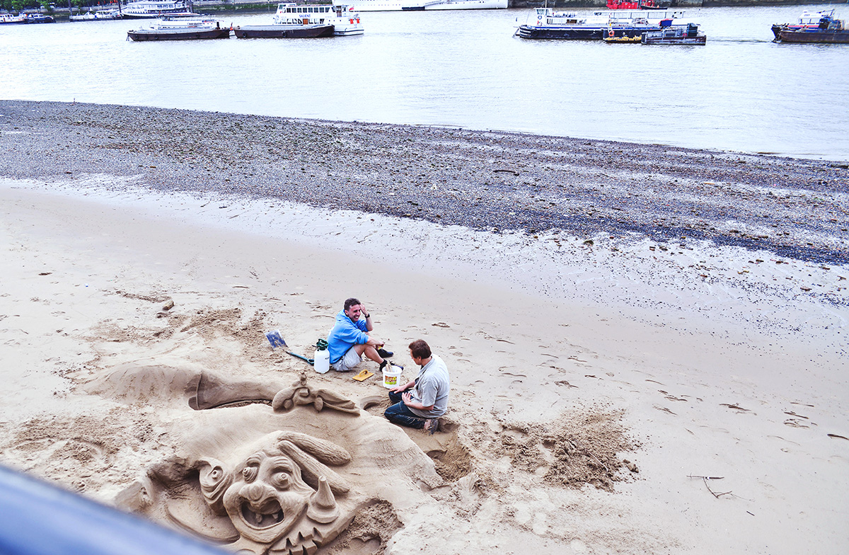 Sandskulpturer i London Southbank