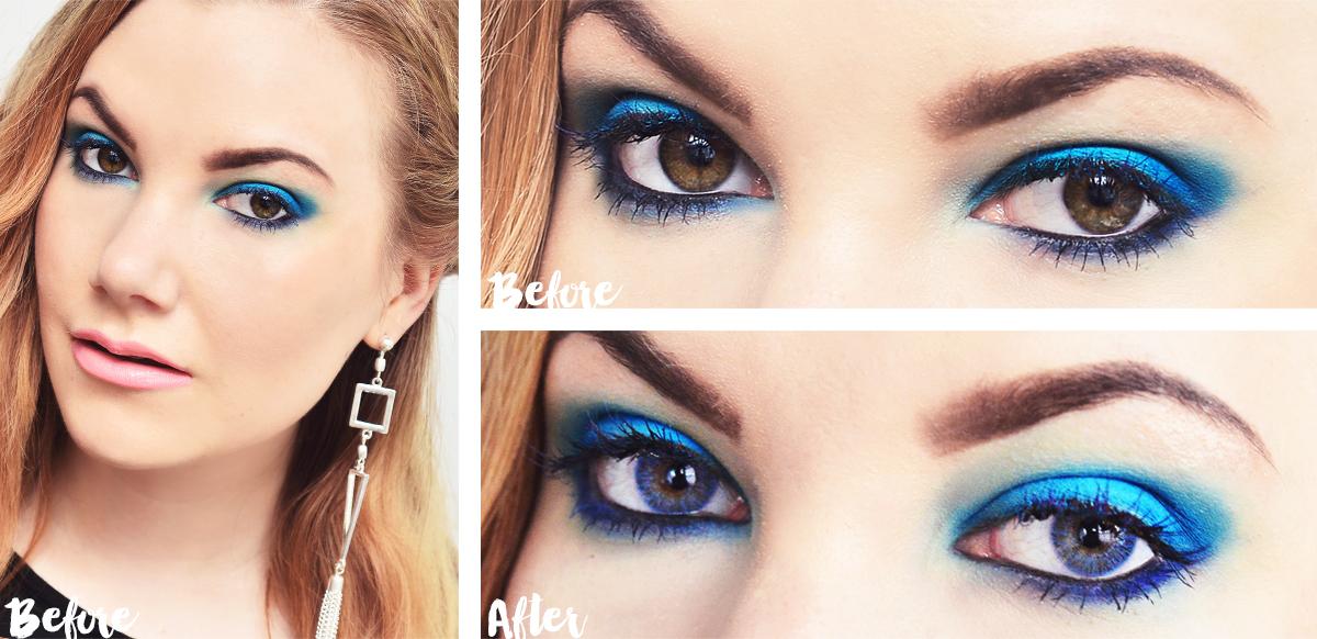 Blue & Turquoise makeup + blue lenses