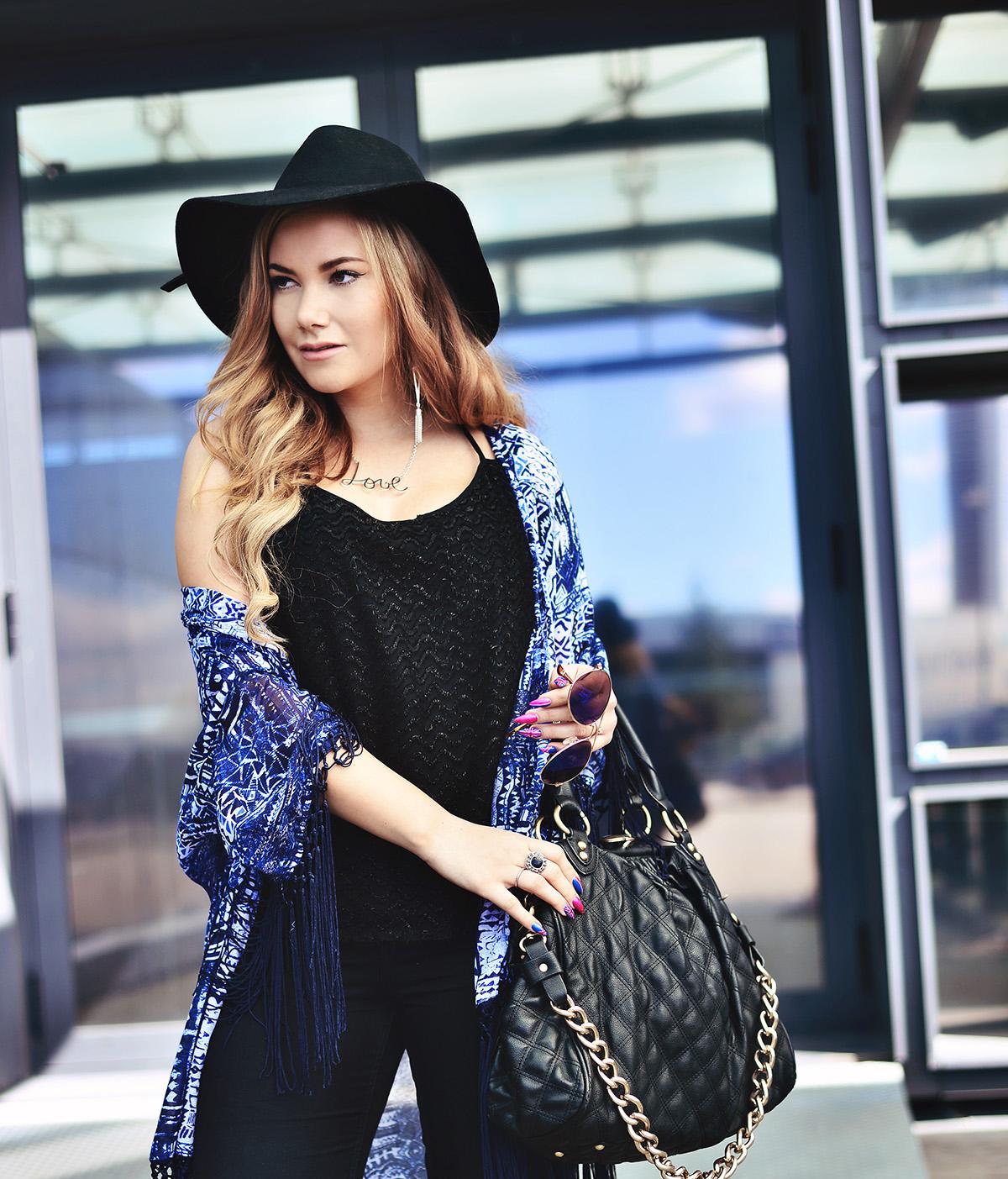 Outfit idea: Blue Fringe Kimono