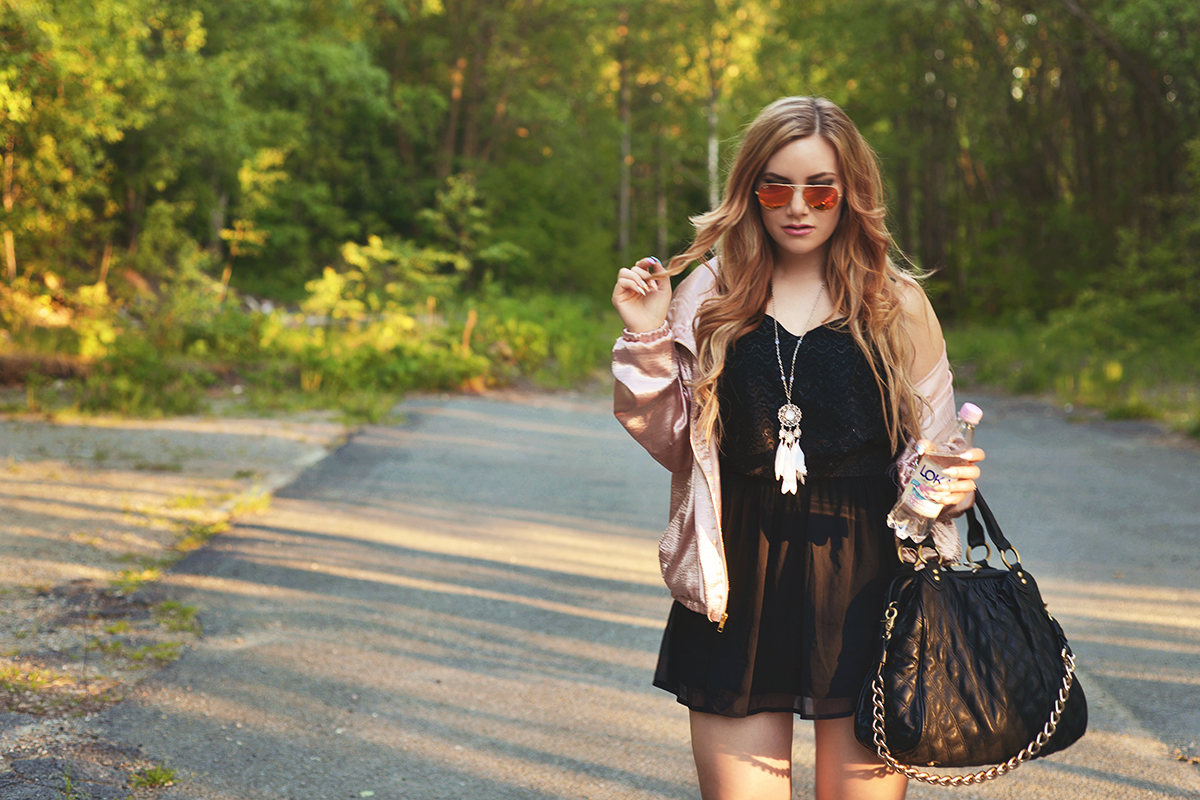 Pink & black summer outfit