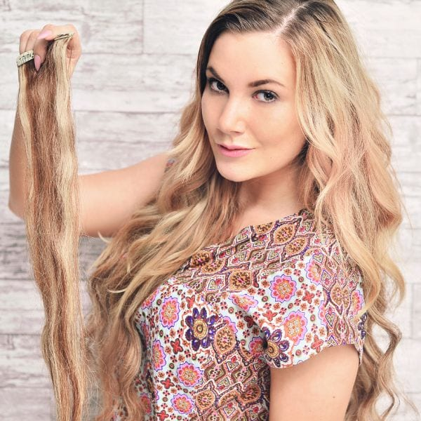 Clip-in Hair Extensions Rapunzel 60 cm Strawberry Brown Mix