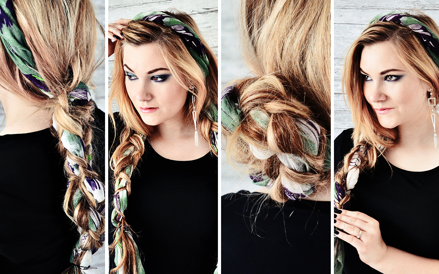 Enkla frisyrer med en sjal - Simple hairstyles with a scarf