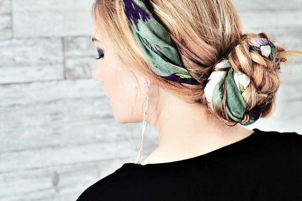 Hårknut med en sjal - Hair bun with a scarf