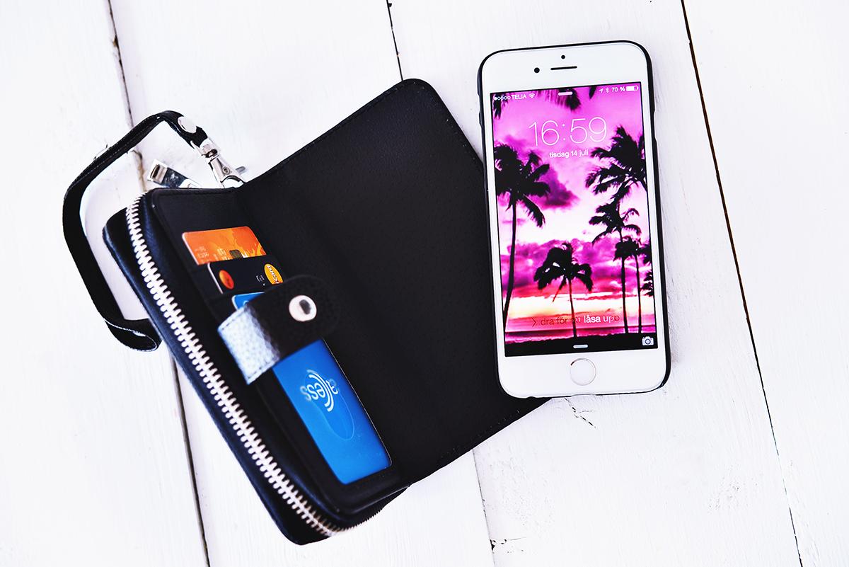 Svart plånboksfodral till iPhone 6