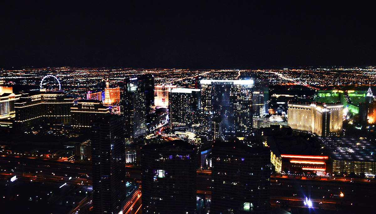 Nighttime helicopter tour over Las Vegas