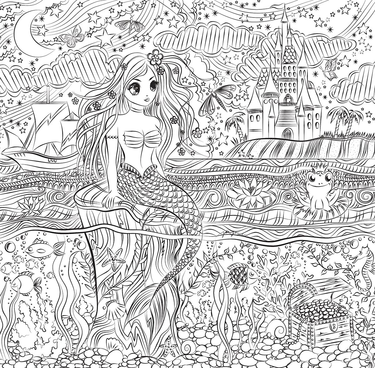 Illustration till målarbok - Sjöjungfru