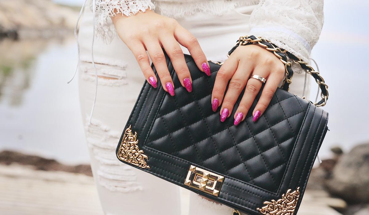 Glitter Pink Gel Nails