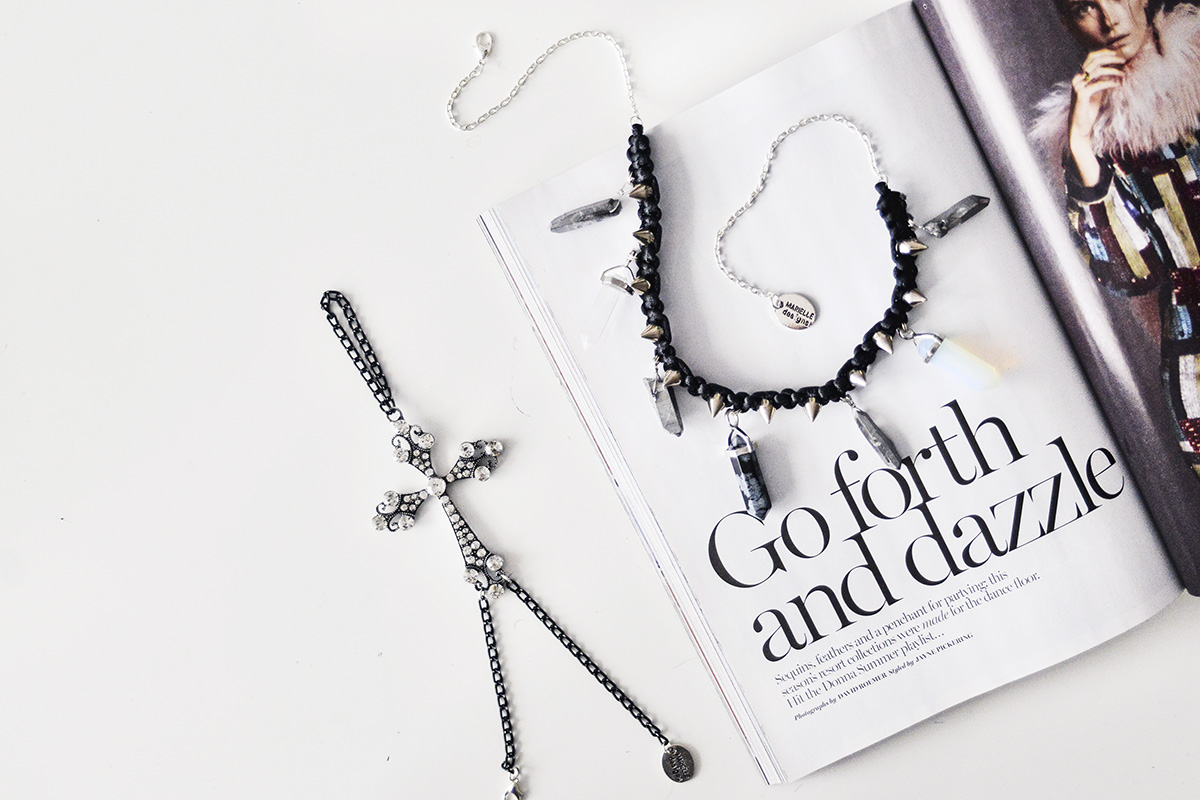 Lyra hand jewelry & Titanium quarts crystal necklace -black hexagon