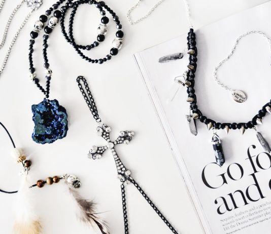 Marielle Designs Lyra hand jewelry & Titanium quarts crystal necklace -black hexagon