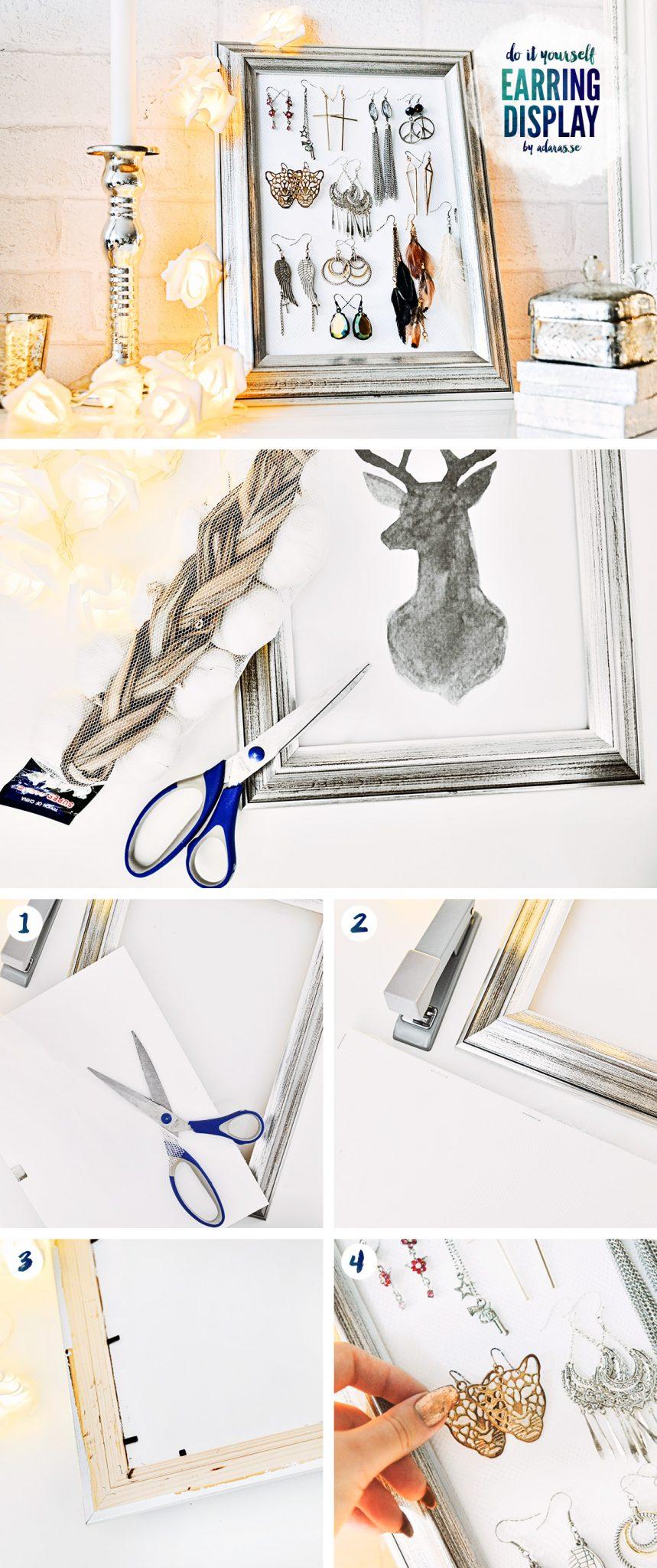 DIY: Earring display - Örhängesdisplay med fotoram