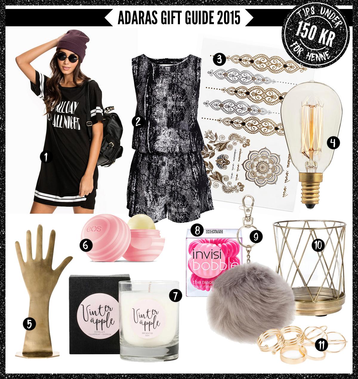 Adaras Gift Guide 2015 -Julklappstips till henne - under 150 kronor