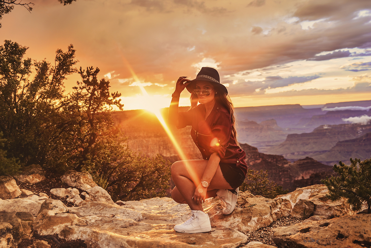 Woman in front of Grand Canyon Sunset at Mather Point