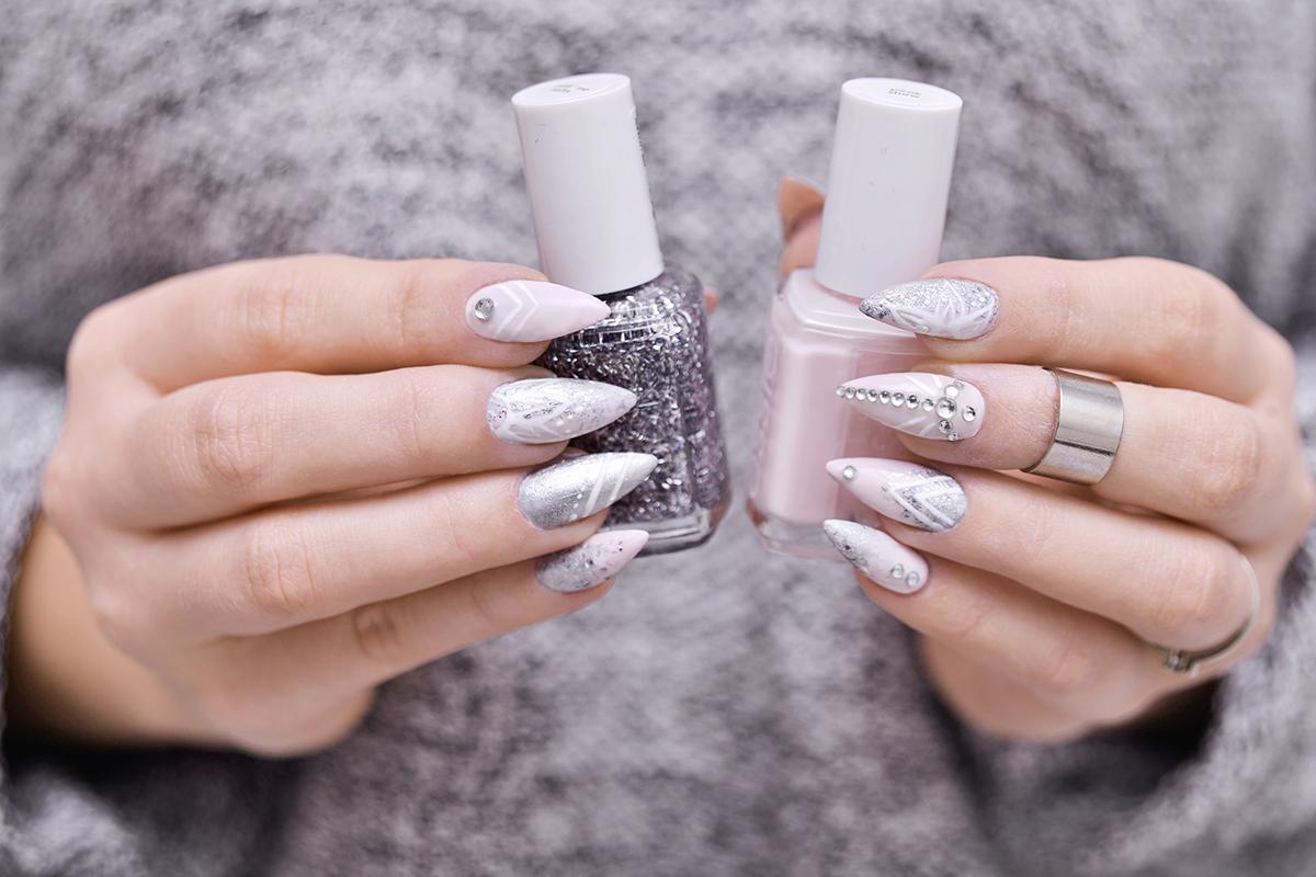 Nageldesign i rosa & silver