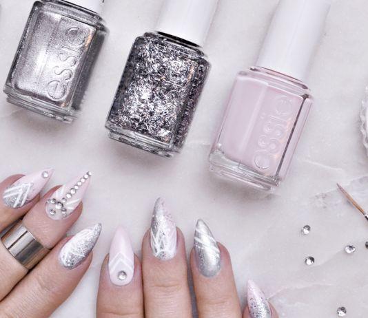 Pink & Silver Nail Art Idea