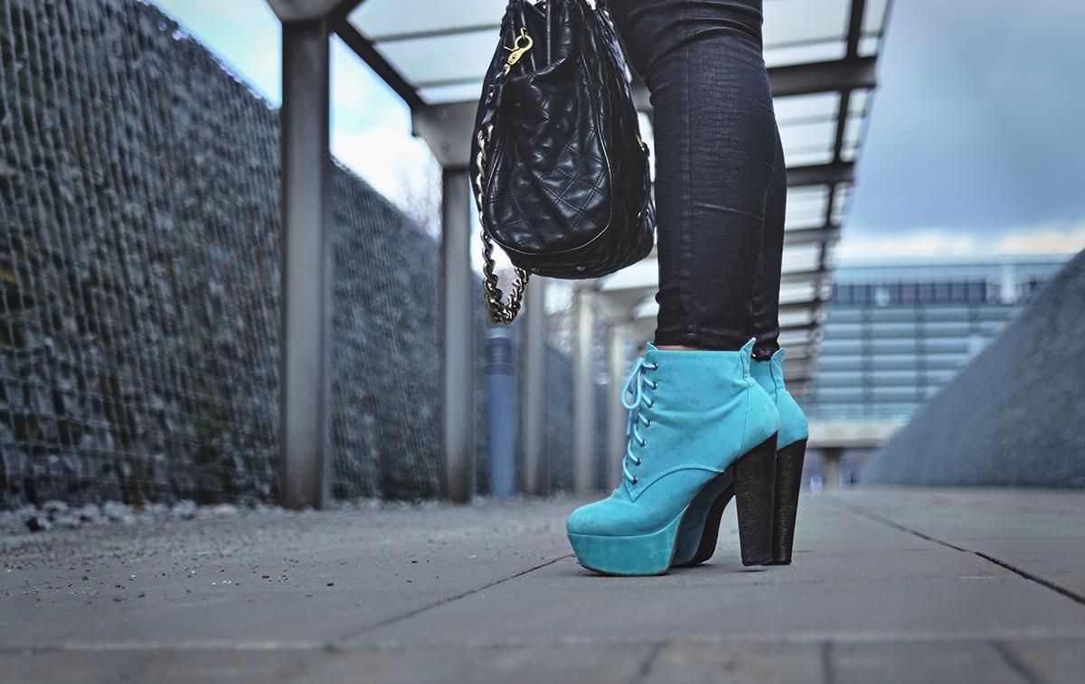 Turquoise high heels