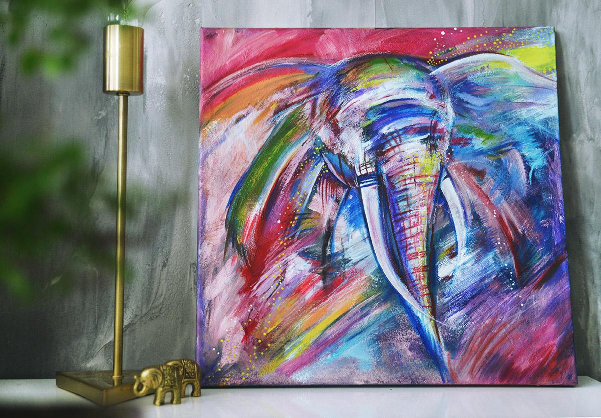 Färgglad akrylmålning av en elefant