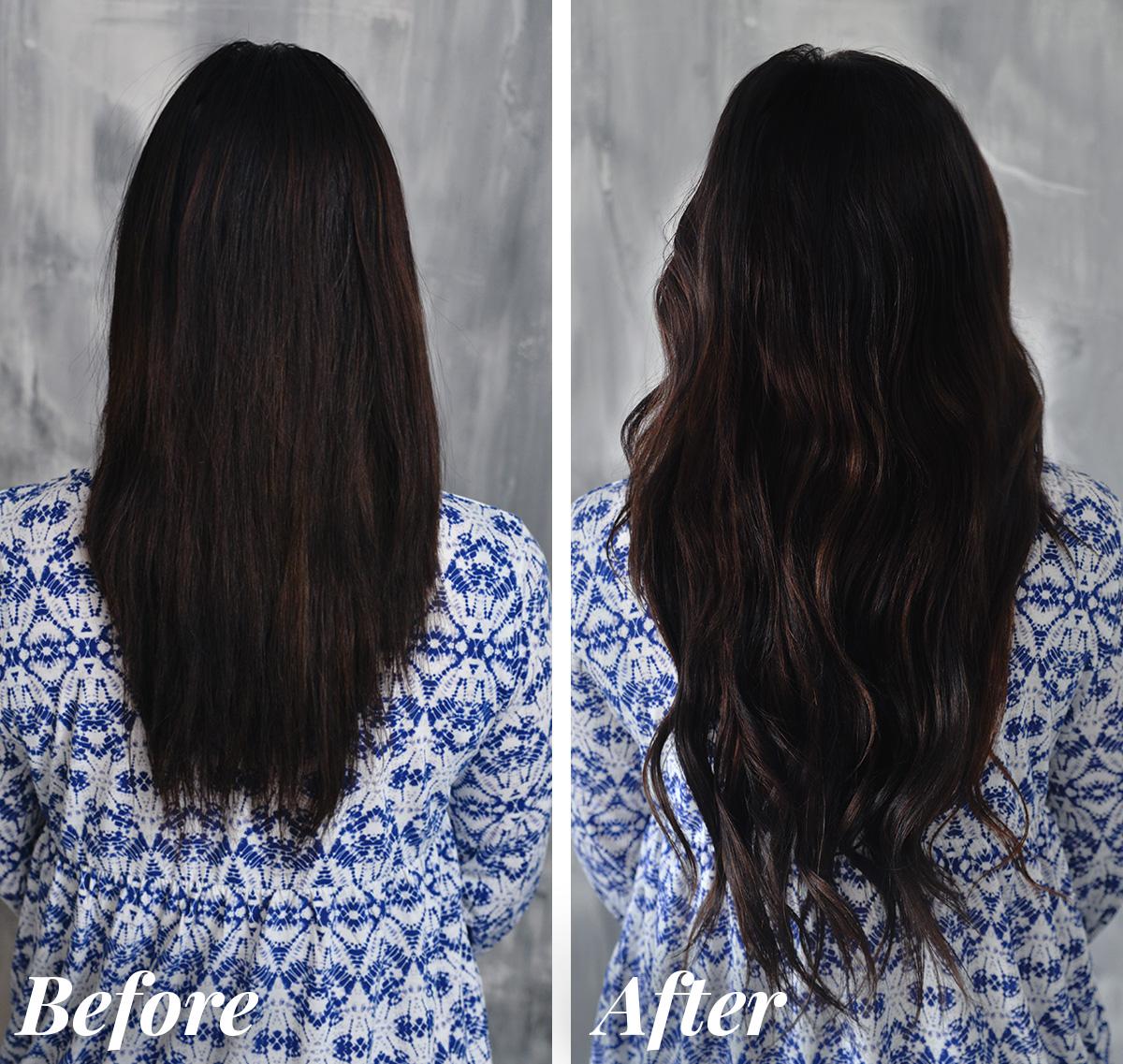 Före- och efter hårförlängning med Nail Hair Extensions