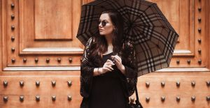Burberry Umbrella Outfit in Rome