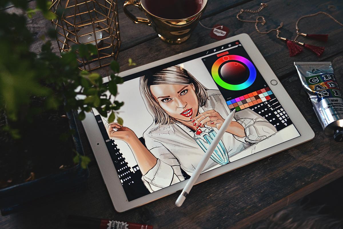 Comic Book Drawing in progress on iPad Pro