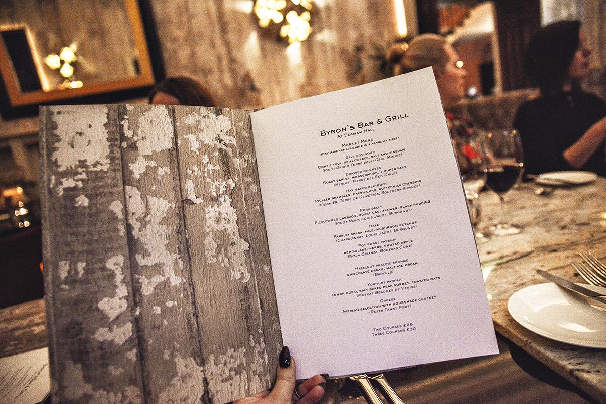 Menu at Byron's Bar and Grill
