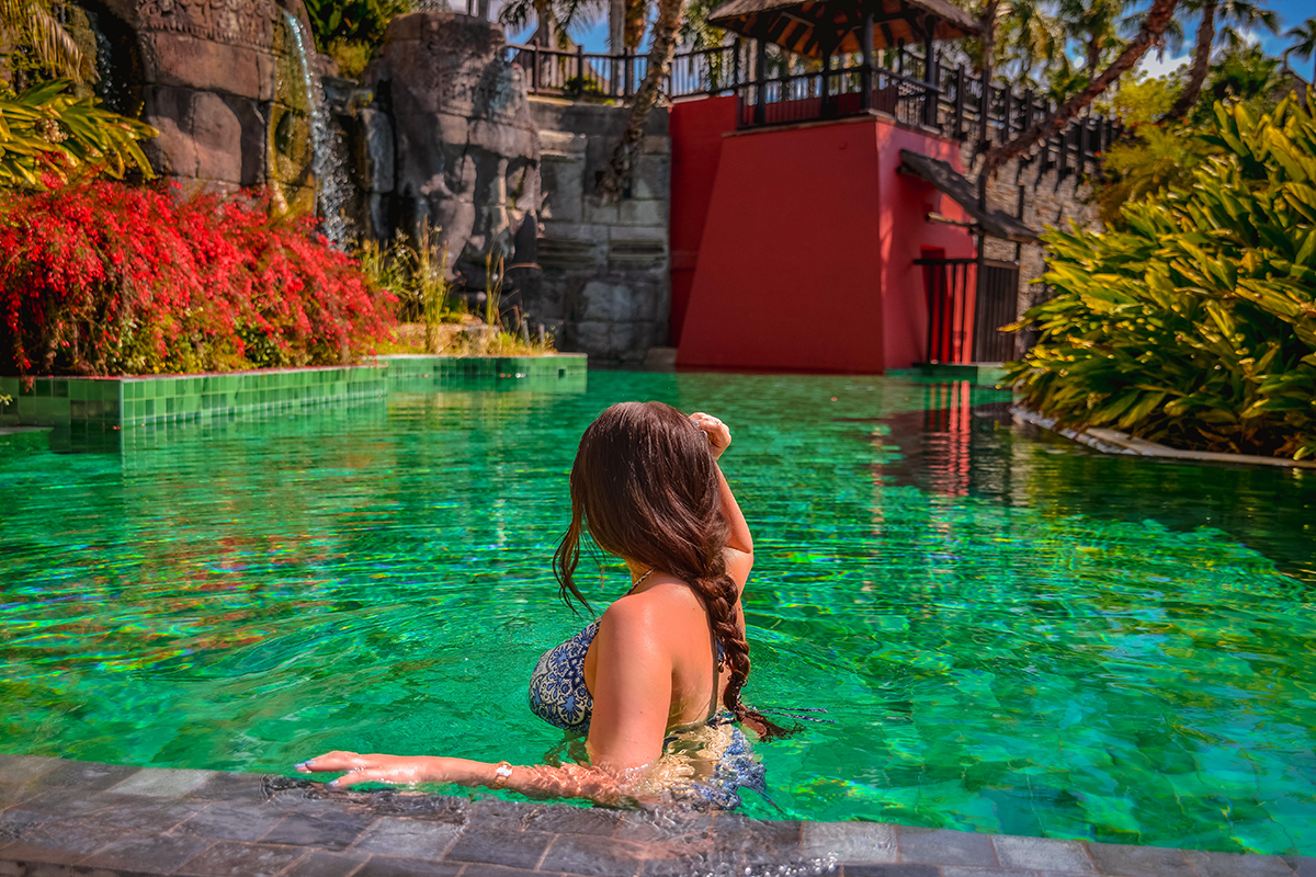 In a green pool in Costa Blanca