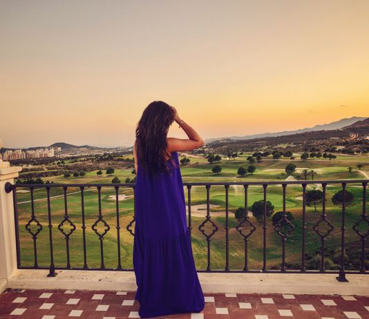 Blue Maxi Dress & Benidorm Sunset