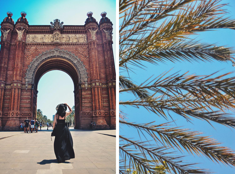 Walking toward Arc de Triomf in Barcelona