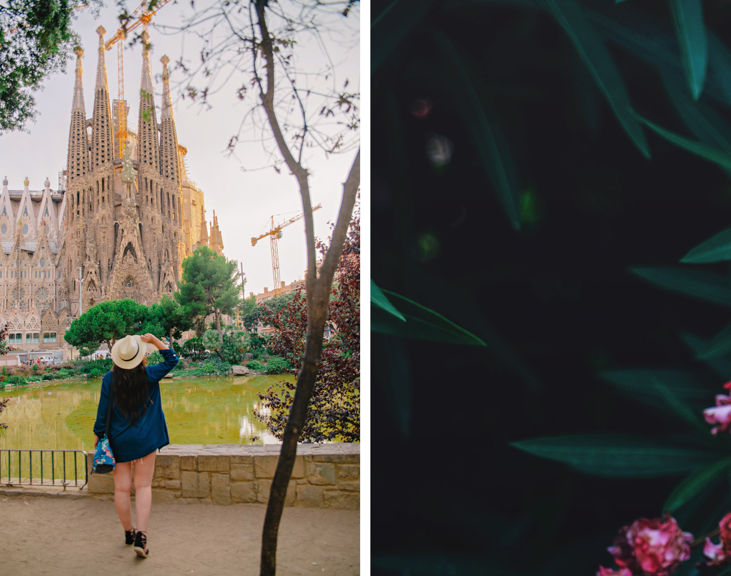 Outfit with hat outside La Sagrada Familia i Barcelona